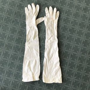 Long white leather gloves gauntlets
